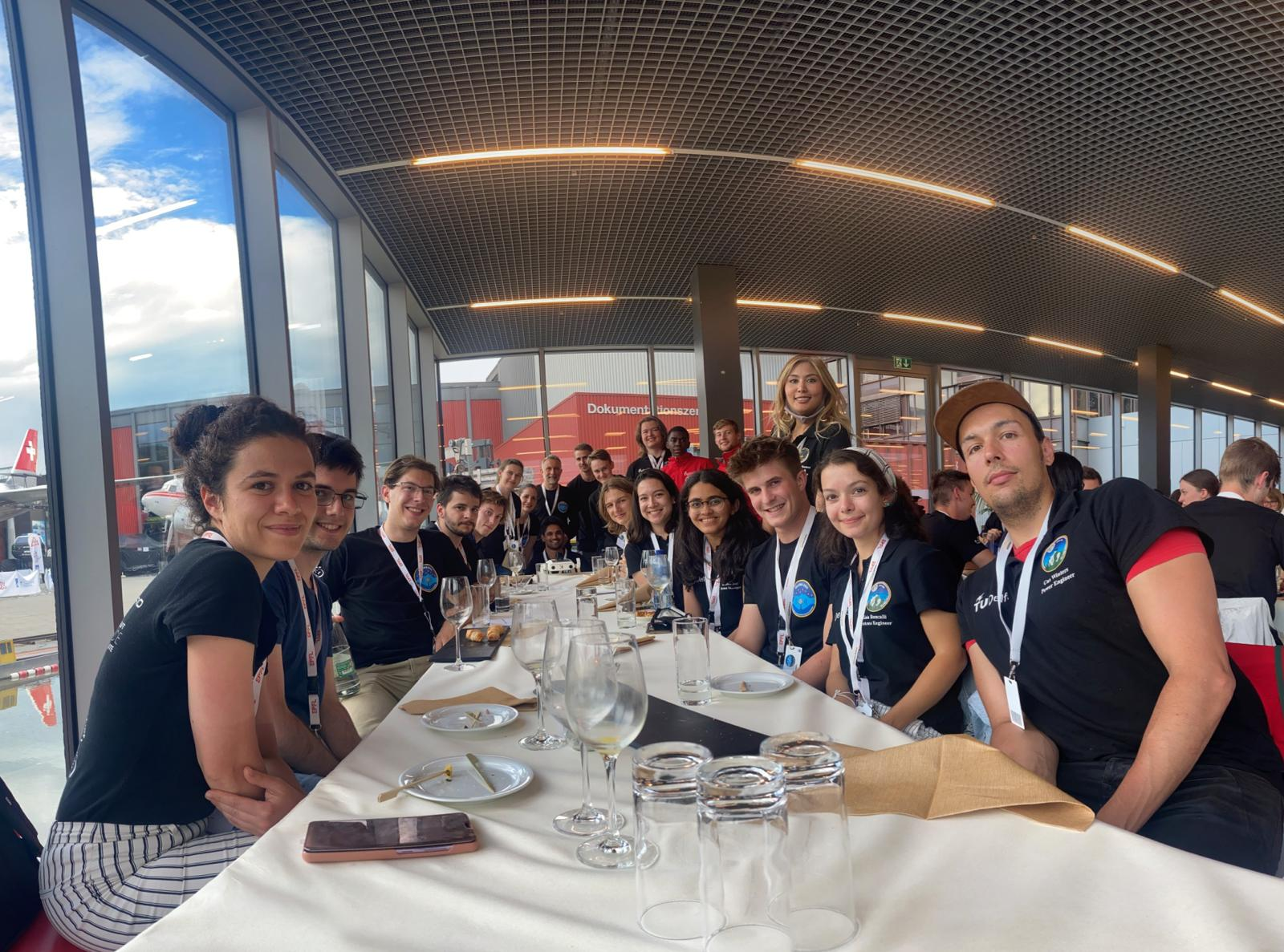 The Lunar Zebro IGLUNA team in Switzerland during the apéro after the opening ceremon